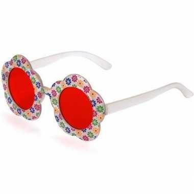 Hippie feestbril rode glazen volwassenen carnavalskleding den bosch