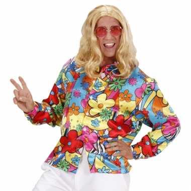 Carnavalskleding hippie flower power shirt heren