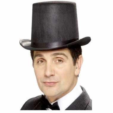 Hoge hoed zwart vilt heren carnavalskleding den bosch