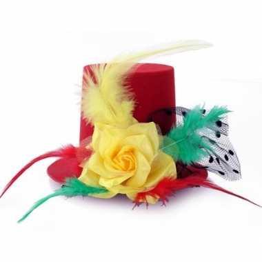 Carnavalskleding hoge mini hoed clips rood geel groen