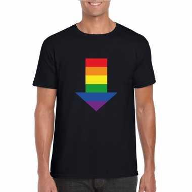 Homo shirt bottom regenboog pijl zwart heren carnavalskleding den bos