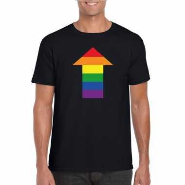Homo shirt top regenboog pijl zwart heren carnavalskleding den bosch
