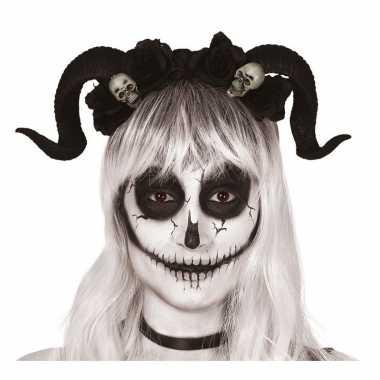 Horror haarband zwarte hoorns doodshoofden carnavalskleding bosch