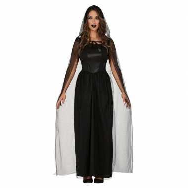 Horror verkleed bruidsjurk zwart cape dames carnavalskleding den bosc