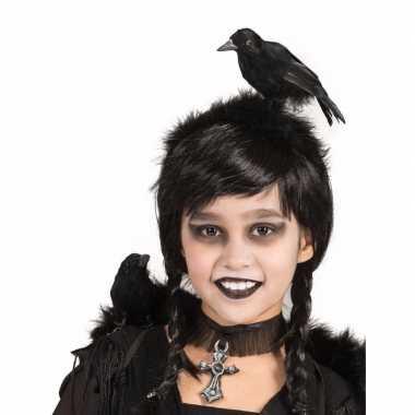 Horror verkleed diadeem zwarte kraai je hoofd carnavalskleding den bo