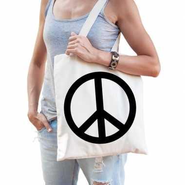 c62e43738495e7 Katoenen boodschappentas hippie peace teken carnavalskleding den bosc