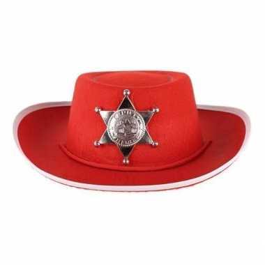 Carnavalskleding kinder cowboy hoed rood