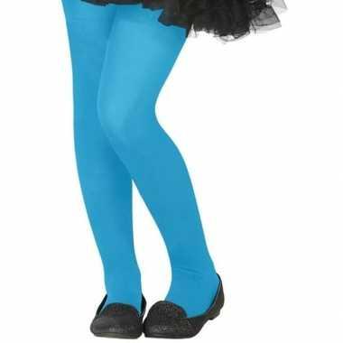 Knalblauwe denier verkleedpanty kinderen carnavalskleding bosch