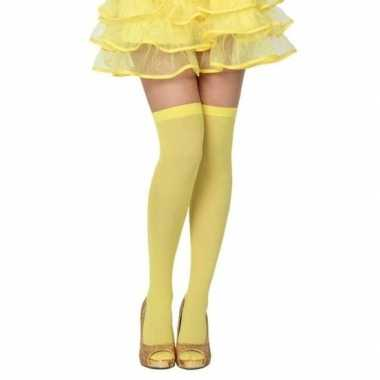 Knalgele hoge verkleed kousen dames carnavalskleding den bosch