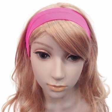 Carnavalskleding knalroze haarband