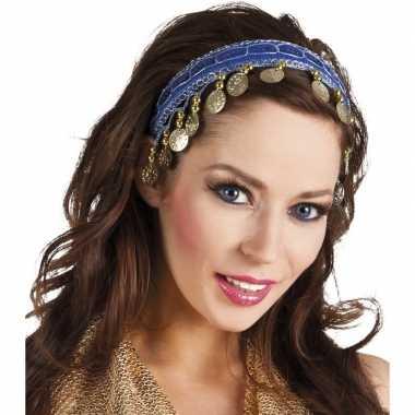 Kobalt blauwe verkleed/feest buikdanseressen hoofdband/diadeem dames/