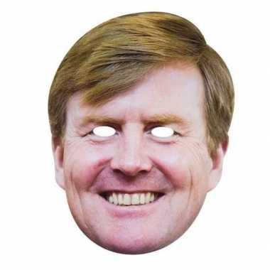 Koningsdag verkleedaccessoire willem alexander masker karton carnaval