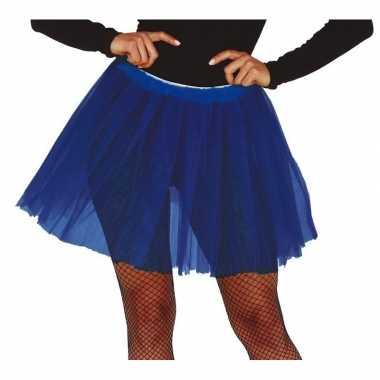 Korte tule onderrok kobalt blauw dames carnavalskleding den bosch