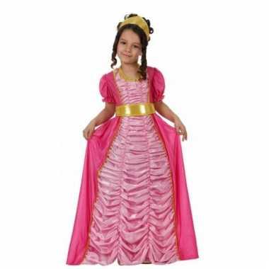 Lange roze prinsessen jurk kinderen carnavalskleding Den Bosch