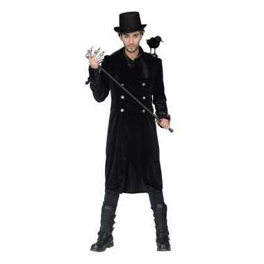Carnavalskleding lange zwarte mantel gesp heren 10094996