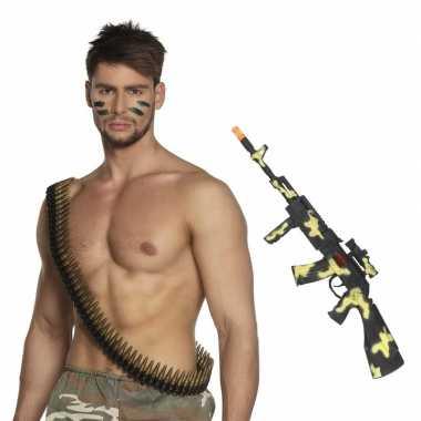 Leger verkleed accessoires kogelriem geweer carnavalskleding den bosc