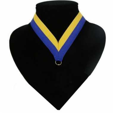 Lint een medaille blauw geel carnavalskleding Den Bosch