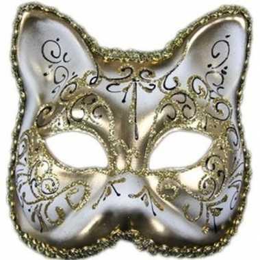 Luxe dierenmasker kat/poes wit/goud volwassenen carnavalskleding den