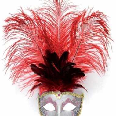 Carnavalskleding luxe oog masker veren