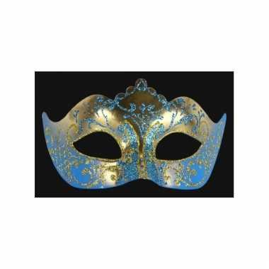 Carnavalskleding luxueus italiaans oogmasker blauw goud