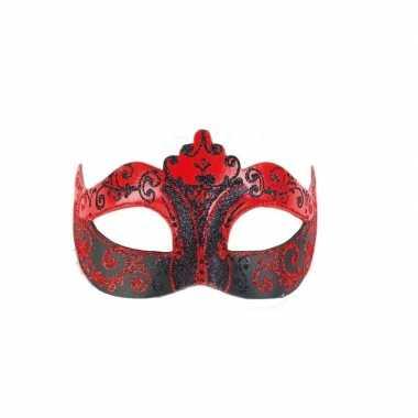 Carnavalskleding luxueus italiaans oogmasker rood zwart