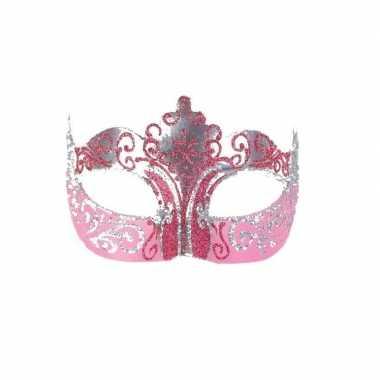 Carnavalskleding luxueus italiaans oogmasker roze goud