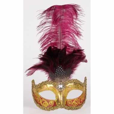 Carnavalskleding luxueus italiaans veren oogmasker bordeaux