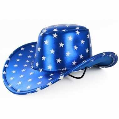 Metallic blauwe cowboyhoed zilveren sterren volwassenen carnavalskled