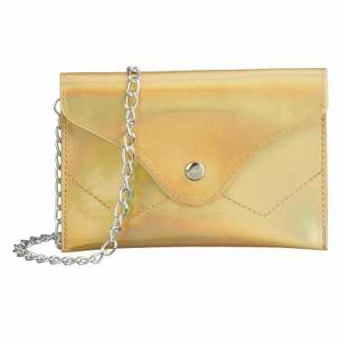 Metallic goud schoudertasje/handtasje carnavalskleding den bosch