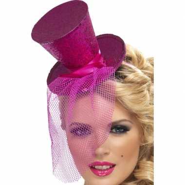 Mini hoge hoed hoofdband roze carnavalskleding den bosch