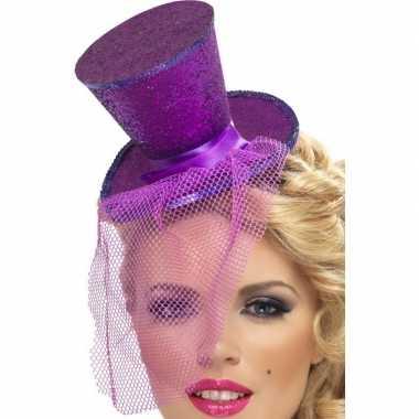 Mini hoge hoed paars hoofdband carnavalskleding den bosch