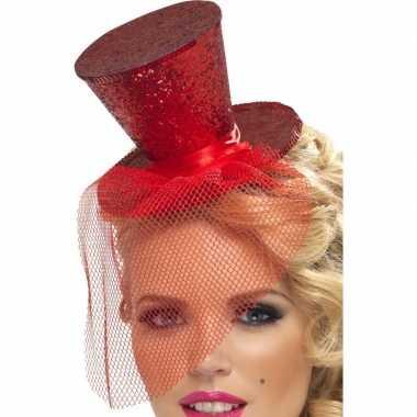 Mini hoge hoed rood hoofdband carnavalskleding den bosch