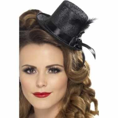 Carnavalskleding mini hoge hoedjes zwart