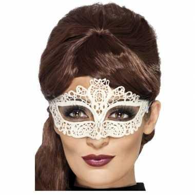 Mysterieus oogmasker wit dames carnavalskleding den bosch