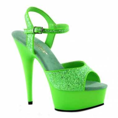 Neon groene hoge glitter hakken Caydence carnavalskleding Bosch