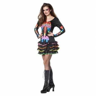 Neon skelet halloween verkleedjurk dames carnavalskleding den bosch