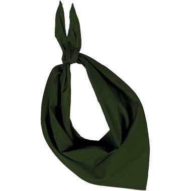 Olijf groene basic bandana/hals zakdoeken/sjaals/shawls volwassenen c