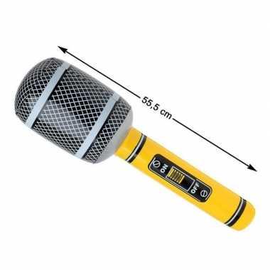 Opblaasbare microfoon geel/zwart carnavalskleding den bosch