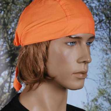 Carnavalskleding oranje bandana dames heren uni