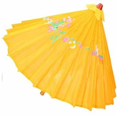 Oranje/gele parasol chinees/aziatisch/oosters carnavalskleding den bo