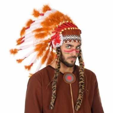 Oranje/witte indianen tooi heren carnavalskleding den bosch
