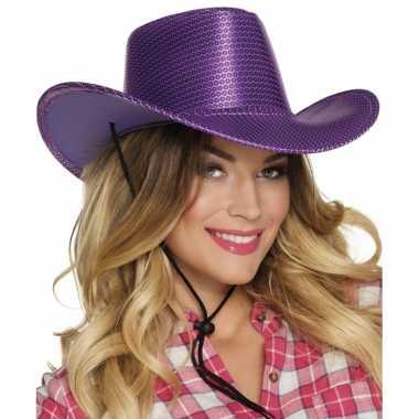 Carnavalskleding paarse glitter cowboyhoed wilde westen verkleedaccessoire