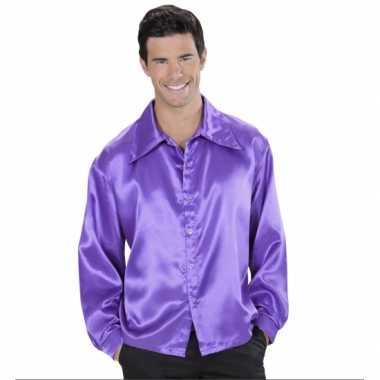 Carnavalskleding paarse satijnen disco blouse