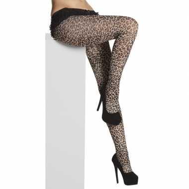 Panty luipaarden/panters stippen dames carnavalskleding bosch