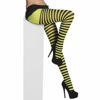 Panty strepen zwart/groen dames carnavalskleding den bosch