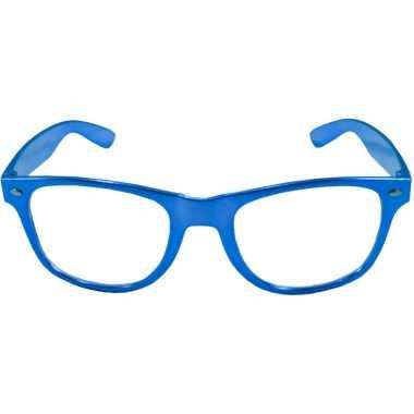 Party/verkleed bril metallic blauw kunststof carnavalskleding den bos