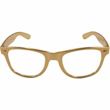 Party/verkleed bril metallic goud kunststof carnavalskleding den bosc