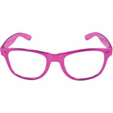 Party/verkleed bril metallic roze kunststof carnavalskleding den bosc
