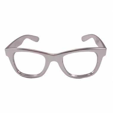 Party/verkleed bril metallic zilver kunststof carnavalskleding den bo