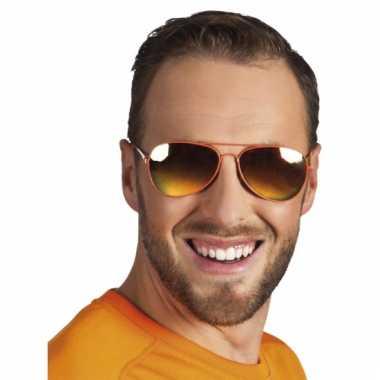 Piloten bril oranje spiegelglas carnavalskleding Den Bosch